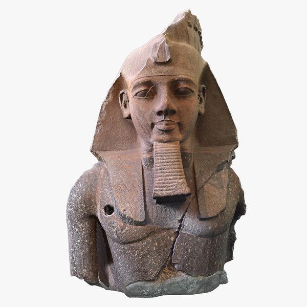 king ramesses ii statue 3D