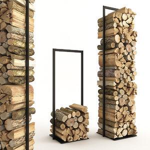 3D firewood wood