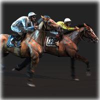 horse jockey animation 3D model