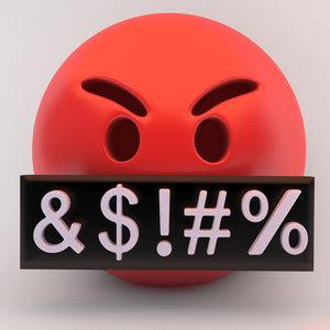 3D emoji serius