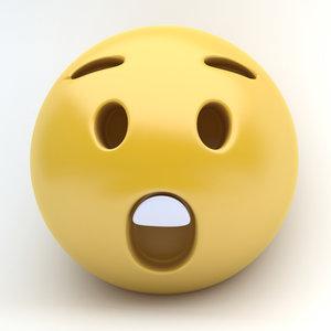 emoji surprised 3D model