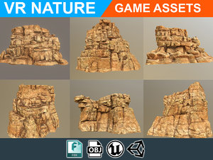 realistic desert cliff polys 3D model