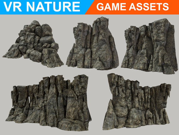 realistic cave wall pack 3D model