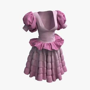 3D women cloth set 003 model