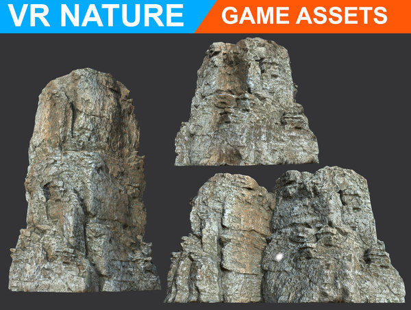 realistic gray cliff modular 3D model