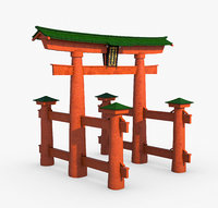 3D historic torii gate japan model