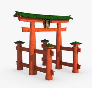 3D historic torii gate japan model