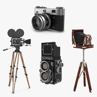 Vintage Film Cameras 3D Models Collection 2