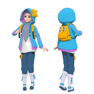 hijab anime girl 3D