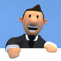 3D fun business man model