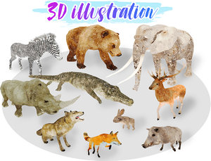 africa animal illustration 1 3D model