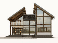3D half-timbered house model
