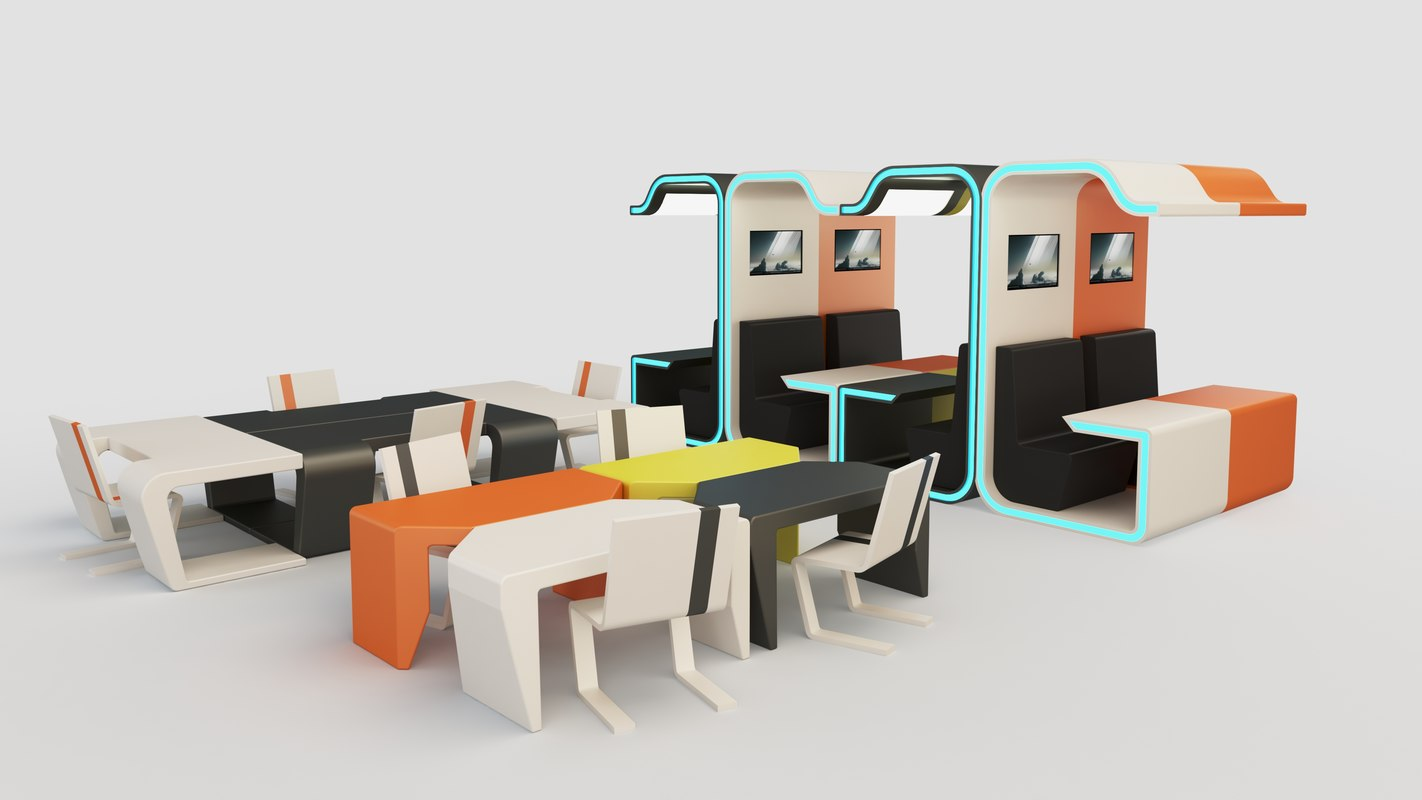 3D model modular booth cubicle desk
