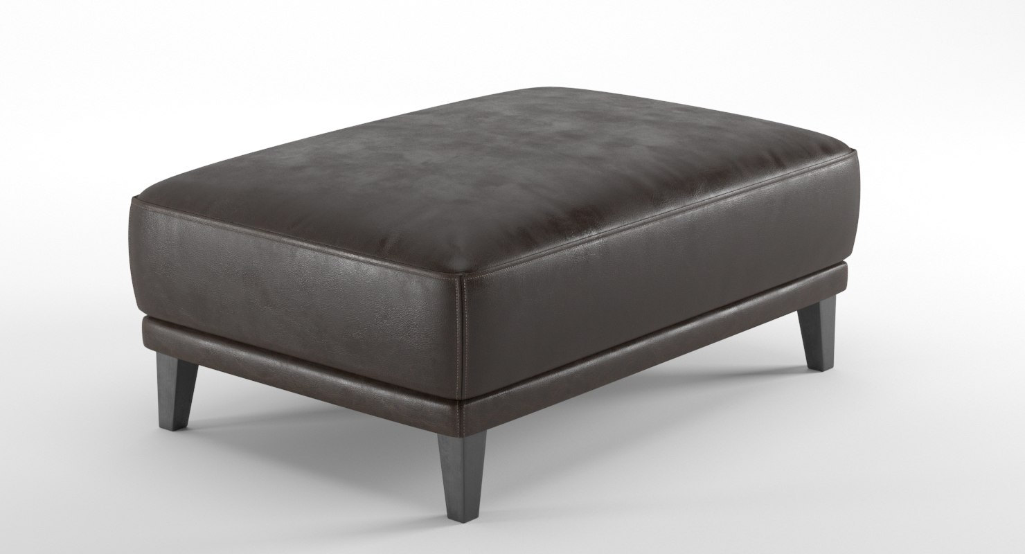 3D realistic leather ottoman