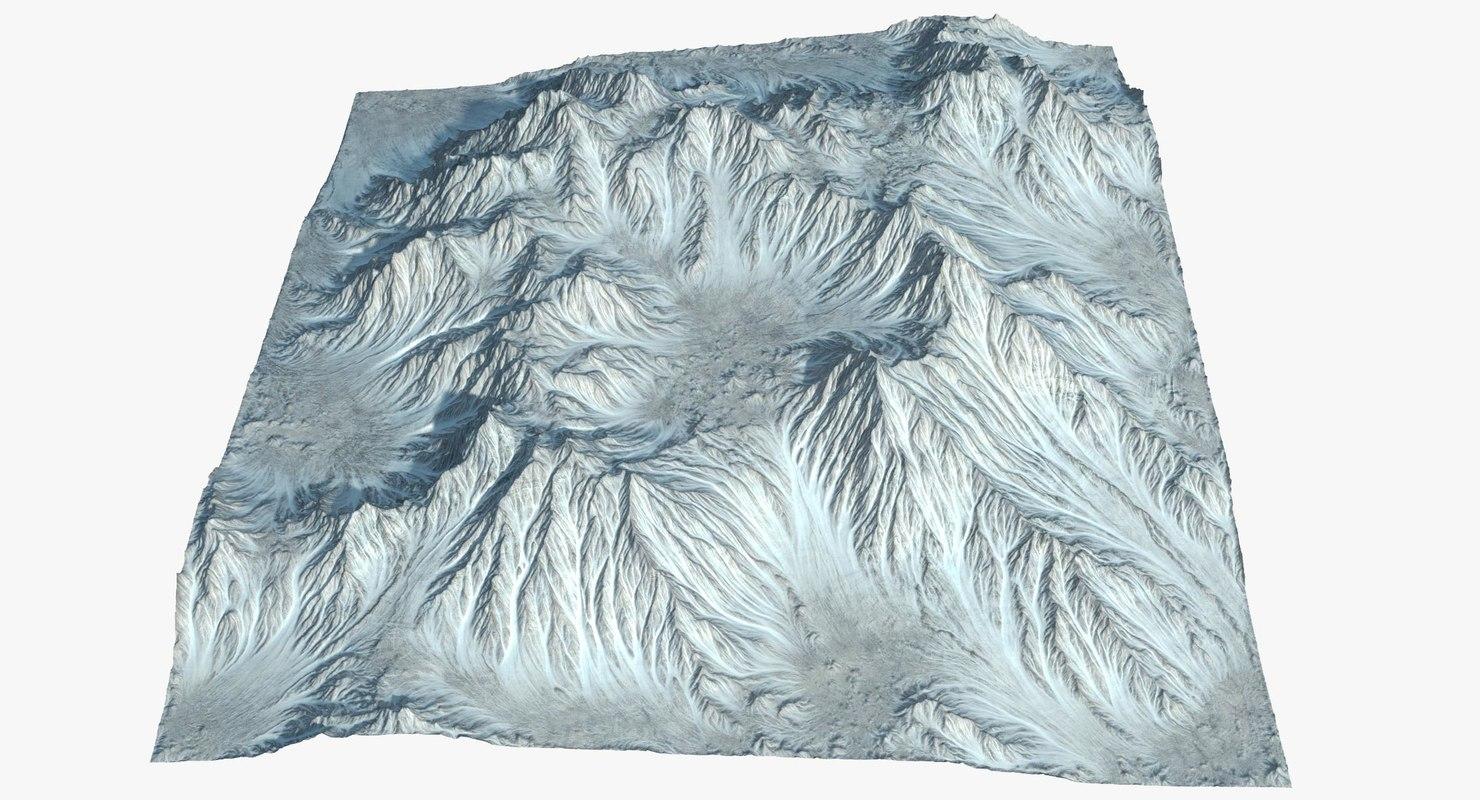 3D model mountain range valley terrain landscape