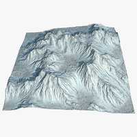 3D model mountain range valley terrain landscape