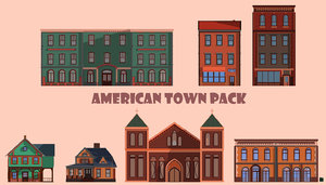 american town pack 3D model