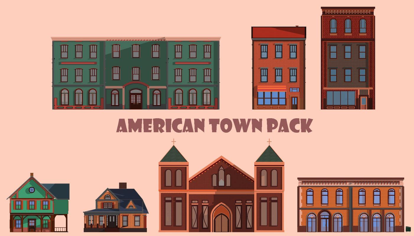 american town pack 3D model