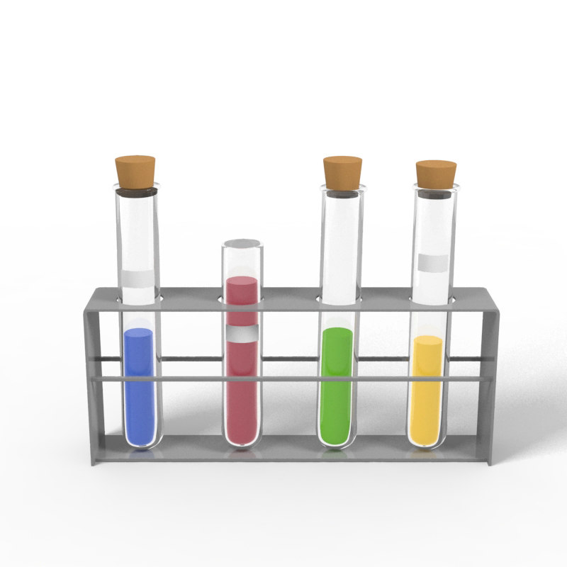 laboratory test tubes stand 3D model