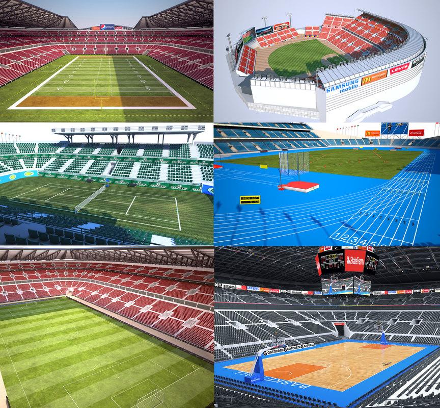 3D model stadium football arena