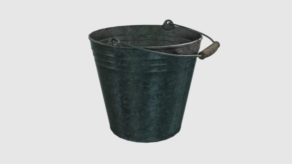 3D vintage galvanized steel bucket model