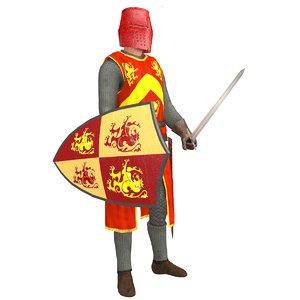 rigged knight helmet 3D