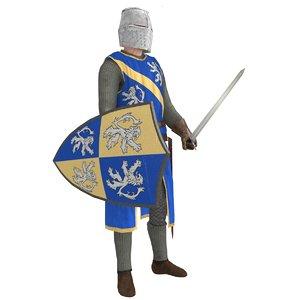 3D model rigged knight helmet
