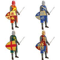 pack rigged knight helmet 3D model