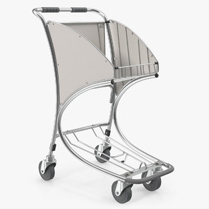 3D airport trolley cart model