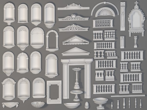 3D model 58 piece exterior decorations