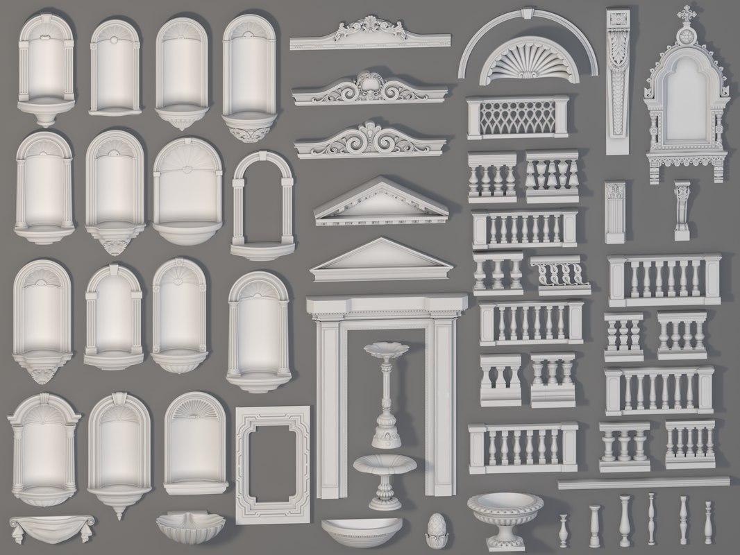 3D model 58 piece exterior decorations
