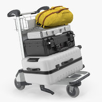 3D baggage airport luggage trolley