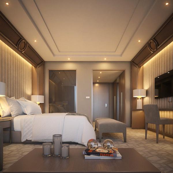 3 hotel room scene 3D model