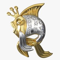 pendant gold fish 3D model