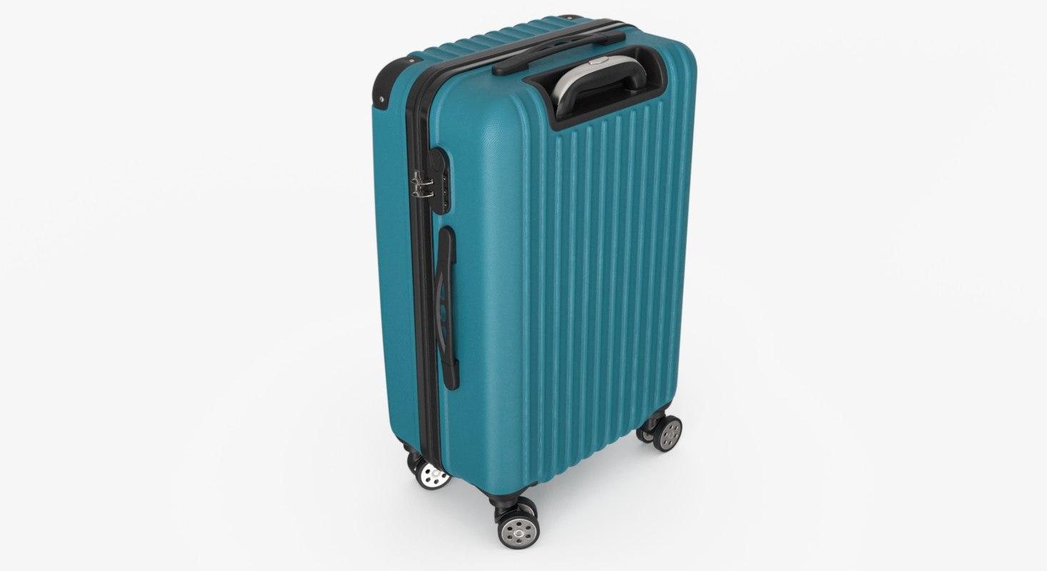 3D model blue suitcase