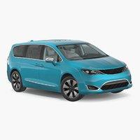 3D hybrid generic minivan rigged