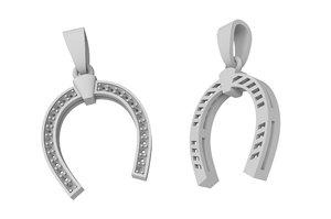 jewelry gold horseshoe pendant 3D model