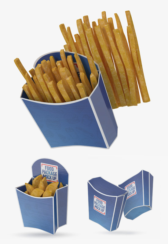 3D french fries box 3 model