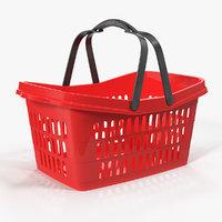 3D plastic shopping basket handles