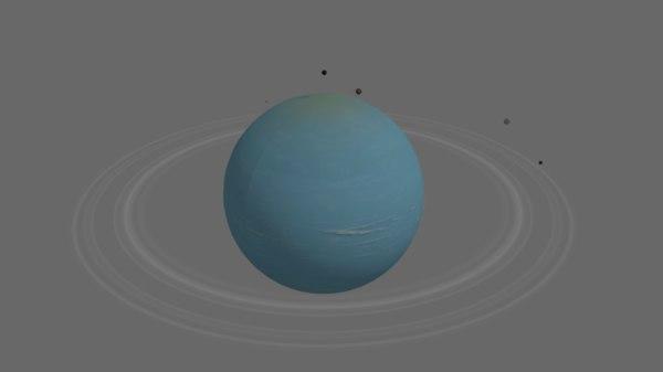 3D uranus satellites planet