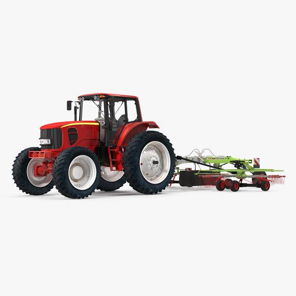 3D tractor twin rotor rake model