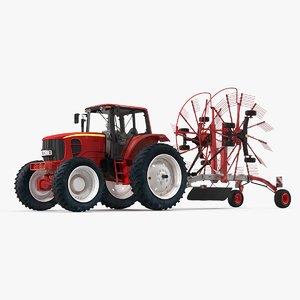 tractor twin rotary rake 3D model
