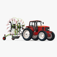 3D model tractor twin rotor rake