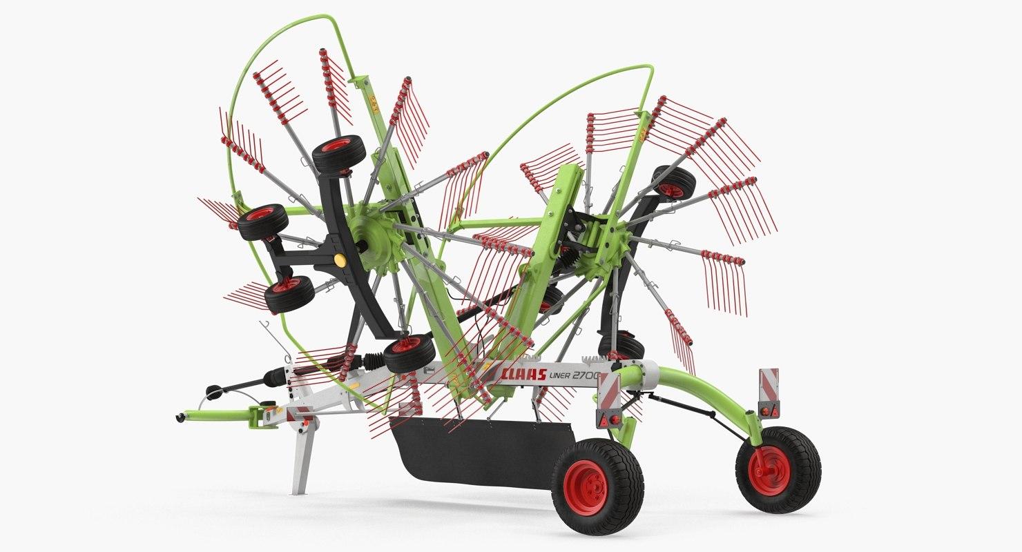 3D twin rotor hay rake model