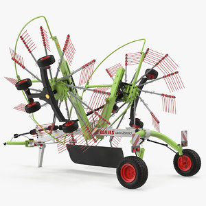 3D twin rotor hay rake model