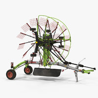 Used Twin Rotor Hay Rake Claas Liner 2700 Parked 3D Model