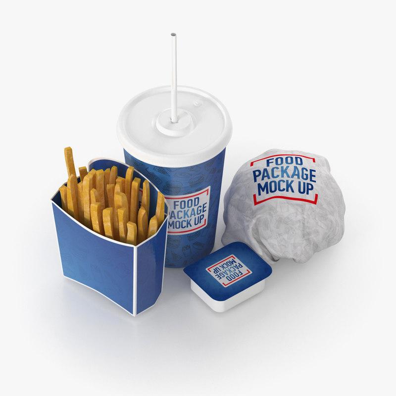 fast food set burger 3D model