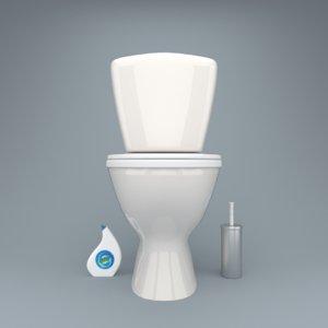 3D bathroom cleaning set model