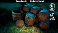 medieval wooden barrel 3D
