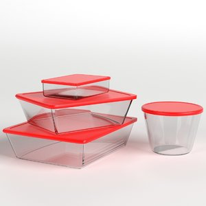 3D set food containers
